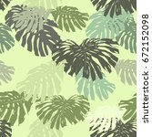 tropical leaves vector pattern... | Shutterstock .eps vector #672152098