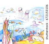 mysterious undersea world.... | Shutterstock . vector #672153106