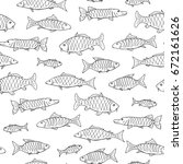 fish seamless pattern in doodle ... | Shutterstock . vector #672161626