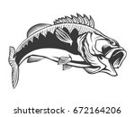 fishing logo. bass fish with... | Shutterstock .eps vector #672164206