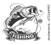 fishing logo. bass fish with... | Shutterstock .eps vector #672164992