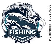 fishing logo. bass fish with...   Shutterstock .eps vector #672164998
