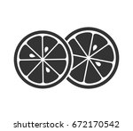 two citrus slices icon. vector... | Shutterstock .eps vector #672170542