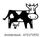 funny black and white cow....   Shutterstock .eps vector #672171952