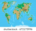 world map with relief. all... | Shutterstock .eps vector #672175996