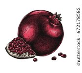 engrave isolated pomegranate... | Shutterstock . vector #672178582