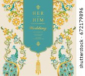wedding invitation card... | Shutterstock .eps vector #672179896