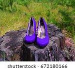 Blue Shoes On A Stump The Gras...