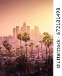 beautiful sunset of los angeles ... | Shutterstock . vector #672181498