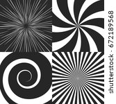 Set Of Psychedelic Spiral With...