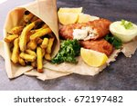 traditional british fish and... | Shutterstock . vector #672197482