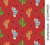 cactus plant vector seamless...   Shutterstock .eps vector #672199435