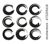 set of black circle abstract...   Shutterstock .eps vector #672205618