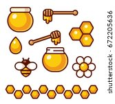 Honey Icon Set. Bee And Flower...