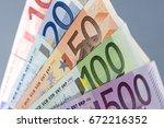 european banknotes  euro... | Shutterstock . vector #672216352