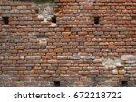 old grunge brick wall background | Shutterstock . vector #672218722