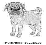 dog pug doodle illustration... | Shutterstock .eps vector #672220192
