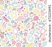 cute summer seamless pattern.... | Shutterstock .eps vector #672223492