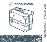 doodle travel bags | Shutterstock .eps vector #672231982