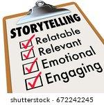 storytelling checklist... | Shutterstock . vector #672242245