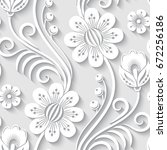 elegant 3d seamless floral... | Shutterstock .eps vector #672256186