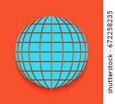 earth globe sign. vector. blue... | Shutterstock .eps vector #672258235
