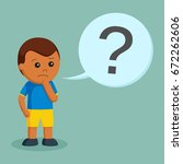 african little boy confused... | Shutterstock .eps vector #672262606