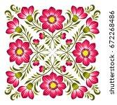 floral background in ukrainian... | Shutterstock .eps vector #672268486