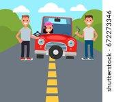 flat design car driving... | Shutterstock .eps vector #672273346