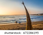 Huanchaco Beach and the traditional reed boats (caballitos de totora) - Trujillo, Peru