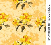 seamless floral pattern with... | Shutterstock .eps vector #672295372