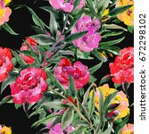 peonies seamless   pattern... | Shutterstock . vector #672298102