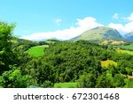 view of mountain landscape in... | Shutterstock . vector #672301468
