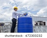 man with helmet work  with... | Shutterstock . vector #672303232
