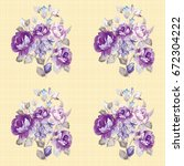 seamless floral pattern with... | Shutterstock .eps vector #672304222