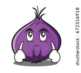 eye roll red onion character... | Shutterstock .eps vector #672316918