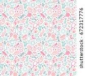 cute summer seamless pattern.... | Shutterstock .eps vector #672317776