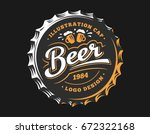 mug beer logo on cap   vector... | Shutterstock .eps vector #672322168