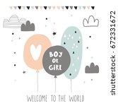 baby shower card design. boy or ... | Shutterstock .eps vector #672331672