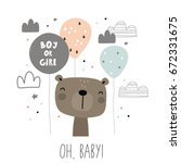Stock vector baby shower card design boy or girl 672331675