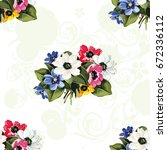 seamless floral pattern with... | Shutterstock .eps vector #672336112