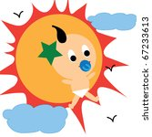 cute baby with cute sun cloud... | Shutterstock .eps vector #67233613