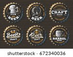 set beer logo on caps   vector... | Shutterstock .eps vector #672340036