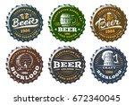 set beer logo on caps   vector...   Shutterstock .eps vector #672340045