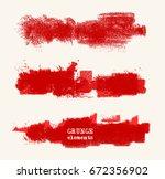 vector set of red brush strokes.... | Shutterstock .eps vector #672356902
