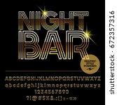 vector set of golden alphabet... | Shutterstock .eps vector #672357316