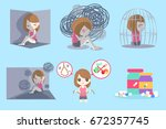 woman with depressed problem on ... | Shutterstock .eps vector #672357745