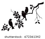 birds sitting on twig with... | Shutterstock .eps vector #672361342