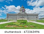 utah state capitol is the house ... | Shutterstock . vector #672363496