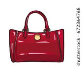 fashionable red women bag with... | Shutterstock .eps vector #672364768